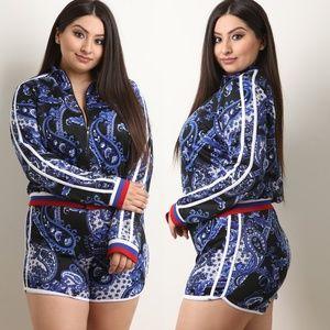 Pants - Paisley Print Striped Trim Jacket with Shorts Set